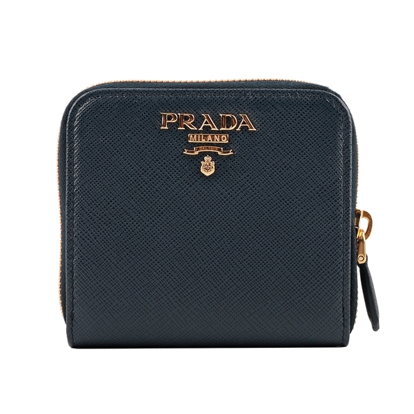 【PRADA】浮雕Logoㄇ型對開拉鍊零錢袋短夾(深藍色) 1ML522 QWA F0216