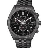 CITIZEN 星辰 光動能萬年曆計時手錶-黑/44mm BL5567-57E