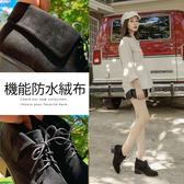 Ann'S小精靈-防水絨布反摺綁帶粗跟短靴-黑