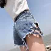 夏季加肥加大碼200斤港風牛仔短褲女胖MM高腰寬鬆破洞闊腿熱褲潮