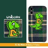 綠格紋刺繡綠恐龍 下不包軟殼 保護殼 iphone XS Max X 8 8plus 7 7plus Unicorn手機殼
