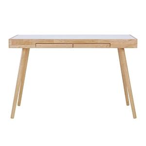 HL北歐簡約白色二抽工作桌 橡木色120x60x80cm