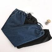 牛仔褲-時尚抽繩鬆緊腰束腳休閒女長褲2色73tq4【巴黎精品】