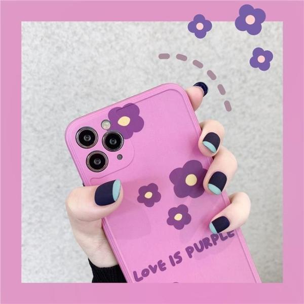 韓國ins紫色花朵iphone11pro max蘋果x手機殼xs max全包防摔8plus網紅清新7plus創意軟殼蘋果