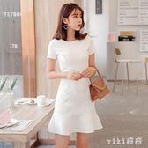 中大尺碼 魚尾洋裝2019夏裝新款修身白色魚尾連身裙女名媛氣質性感心機裙子 qz581【viki菈菈】