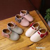 女童靴 兒童皮鞋女童單鞋可愛蝴蝶豆豆鞋軟底公主鞋韓版水鑚女童靴子  凱斯盾數位3c
