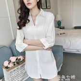 襯衫裙性感襯衫睡衣中長款白色襯衫女寬鬆襯衫裙七分袖bf風情趣誘惑睡裙 海角七號