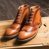 中筒靴真皮-繫帶巴洛克雕花英倫馬丁男靴子2色73kk20【巴黎精品】