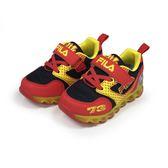 《FILA》兒童 電燈TPR慢跑鞋 黑紅色 7-J852S-209