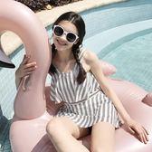 韓國泳衣女保守學生遮肚連體裙式平角顯瘦聚攏條紋溫泉泳裝