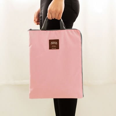 手提包A4文件袋-純色簡約可放IPad帆布手提袋4色73pp418[時尚巴黎]