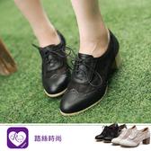 韓系甜美浪漫花邊蕾絲綁帶圓頭方跟牛津鞋/2色/35-43碼 (RX1348-D631) iRurus 路絲時尚