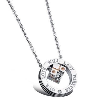 鈦鋼項鍊墜飾(一對)-骰子扣環鑲鑽生日母親節禮物男女對鍊2色73cl101[時尚巴黎]