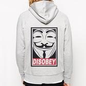 Disobey V Vendetta金屬拉鍊連帽刷毛外套-灰色 革命 政府 怪客 抗議 風格 999 Gildan