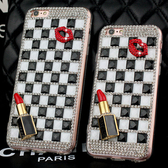 SONY Xperia1 Xperia10 Plus XZ3 L3 XA2+ XA2 Ultra XZ2 Premium 黑白格嘴唇 水鑽殼 保護殼 手機殼 貼鑽殼 訂製