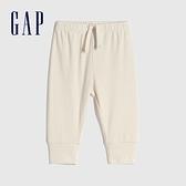 Gap嬰兒 輕柔棉質鬆緊休閒長褲 663824-象牙白