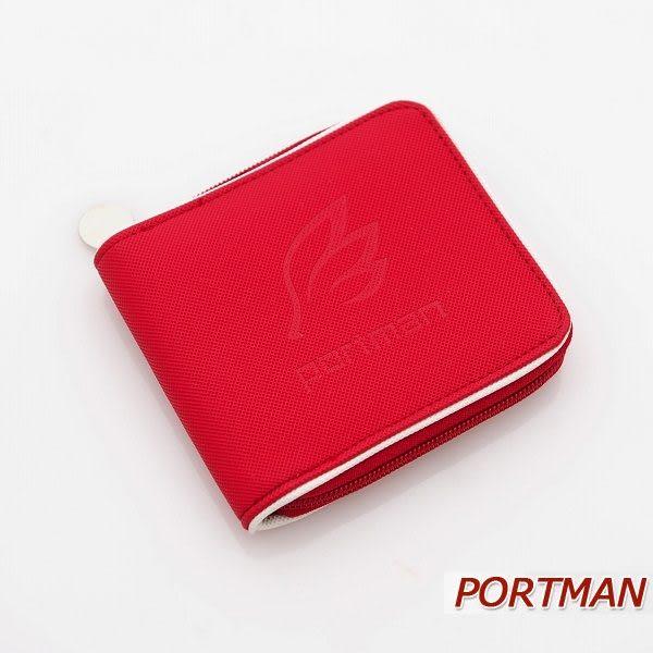 PORTMAN簡約防水拉鍊對折短夾(熱情紅) PM123714