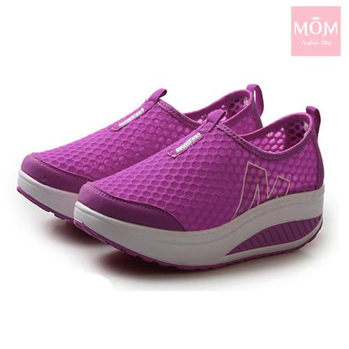 百搭時尚透氣網面M字造型美腿搖搖休閒鞋 運動鞋 紫 *MOM*