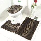 新款新品豹紋馬桶地墊三件套浴室防滑地毯套裝【韓衣舍】