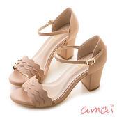 amai《12星座 - Cancer巨蟹座》浪漫花邊一字粗跟繞踝涼鞋 粉