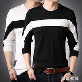 大尺碼POLO衫 新款長袖T恤修身薄款條紋針織毛衣大碼打底小衫 QQ8443『東京衣社』