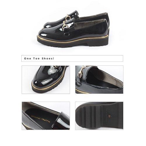 【ORiental TRaffic】金屬釦飾厚底樂福鞋-經典黑