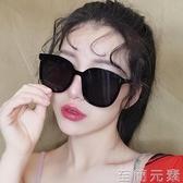 墨鏡方形蹦迪韓版圓臉偏光太陽鏡女潮復古開車鏡黑色大臉顯瘦 至簡元素