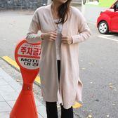 梨卡 - 韓國氣質中長版顯瘦羊毛針織風衣外套/2色DR052