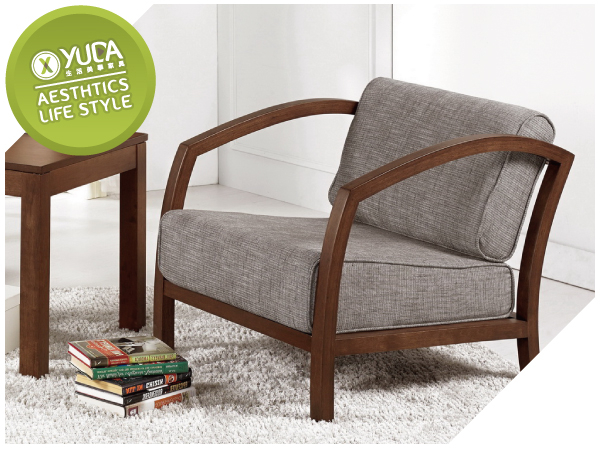 【YUDA】北歐風 邁爾斯 橡膠木 實木 實木骨架 棉麻布 單人 沙發/休閒椅/沙發椅 J9M 724-2