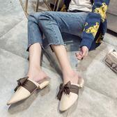 穆勒鞋 包頭半拖鞋女低跟拖毛粗跟蝴蝶結新款秋冬外穿毛毛拖 df4958【大尺碼女王】
