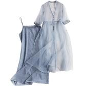 短袖套裝(兩件套)-歐根紗罩衫純棉吊帶裙女裙子73yd47【時尚巴黎】