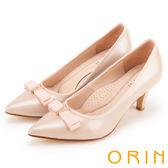 ORIN 典雅氣質 V字鑽飾羊皮百搭尖頭高跟鞋-粉紅
