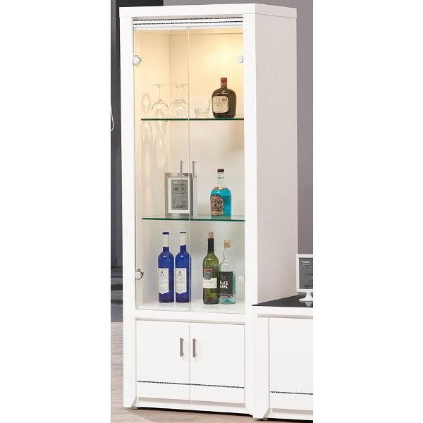 展示櫃 客廳櫃 高低櫃 QW-390-3 魯邦白色2.3尺展示櫃【大眾家居舘】