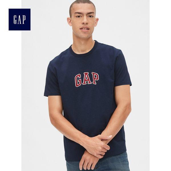 Gap男裝 Logo印花圓領短袖T恤 493213-海軍藍