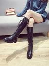 長靴女新款顯瘦粗跟長筒皮靴復古繫帶騎士靴
