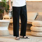 寬管休閒褲男長褲冬季加厚復古唐裝褲子寬鬆寬管長褲鬆緊腰修禪褲 卡卡西
