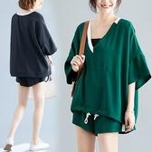 胖mm泫雅風套裝 顯瘦大碼女裝 寬鬆遮肚套裝 短褲短袖兩件套 美芭