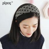 618好康鉅惠頭箍韓國簡約布藝寬邊波點圓點髮箍女百搭頭髮飾