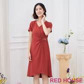 【RED HOUSE 蕾赫斯】V領素面釦環洋裝