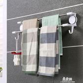 免打孔吸盤式衛生間浴室廚房雙桿毛巾架雙不銹鋼桿浴巾架毛巾掛桿igo     易家樂