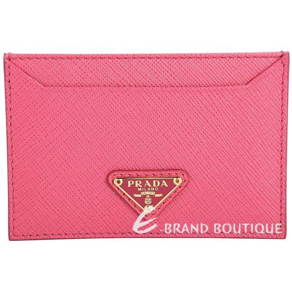 PRADA Saffiano 金三角牌防刮牛皮萬用卡片夾(粉色) 1730041-05