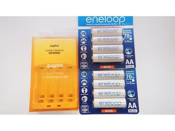 全館免運費【電池天地】SANLUX 三洋智慧型充電器 SYNC-N01 +國際牌 eneloop 3號鎳氫低自放充電電池(8顆)