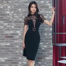 蕾絲洋裝 韓版夏裝名媛氣質短袖拼接修身中長款包臀時尚連身裙
