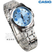 CASIO卡西歐 LTP-1314D-2A 經典簡約數字錶 女錶 不銹鋼 日期顯示窗 防水錶 水藍色 LTP-1314D-2AVDF