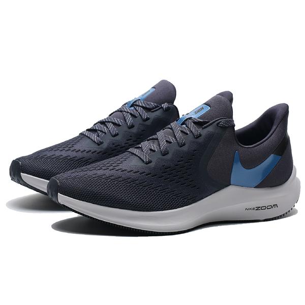 NIKE Zoom Winflo 6 白底 深藍 網布 慢跑鞋 男 (布魯克林) AQ7497-009