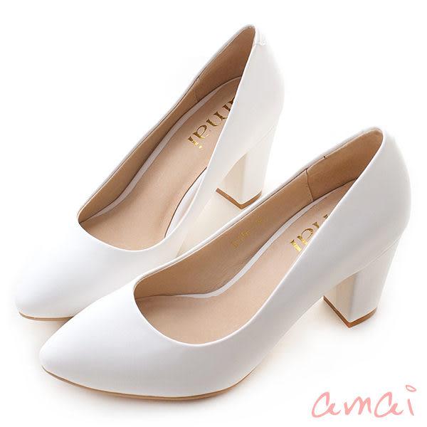 amai簡約素面小尖頭粗跟高跟鞋 白