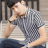 短袖條紋襯衫男韓版修身個性潮流條紋印花襯衣《印象精品》t479