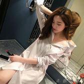 女襯衫長袖中長款白襯衣睡衣