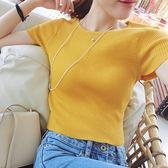 售完即止-針織短袖T恤女短版高腰修身薄冰絲夏季顯瘦簡約小性感露肚臍9-3(庫存清出T)