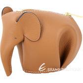 LOEWE Animales Elephant 立體大象造型拉鍊零錢包(駝棕色) 1620008-A9